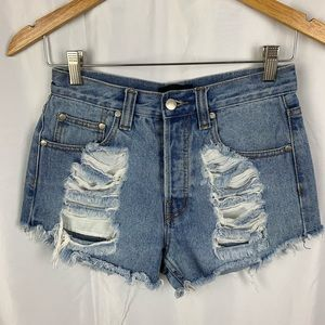 MinkPink High Waisted Destroyed Jean Shorts S